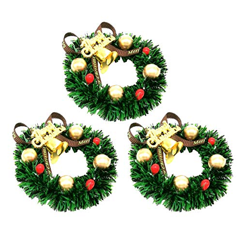 harayaa 3PCS 1/12 Scale Doll House Plastic Christmas Wreath Garland Home Decor