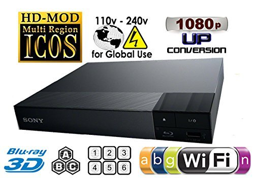 Sony 2D/3D Multi System Region Free Zone Free Blu Ray Disc DVD Player - PAL/NTSC - Wi-Fi - Comes with 110-240 Volt to use World-Wide & 6 Feet HDMI Cable