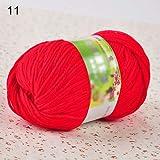 beiguoxia - Ovillo de lana tejida a mano con filigrana de seda suave y algodón natural para tejer a mano Rojo