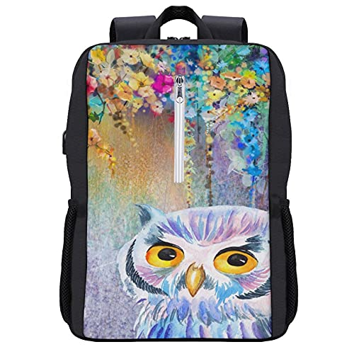 Travel Laptop Backpack,Owl Watercolor Flower Painting Wearable Throw Blanket in Soft Sherpa Fleece,Business Anti Theft Computer Bag Slim Durable with USB Charging Port