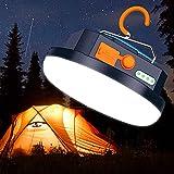 【4 Modalità di Illuminazione】 Questa lanterna da campeggio dotata di 60 LED ad alta luminosità per illuminare facilmente un'intera tenda o una stanza in una notte buia. Modalità luminosità bassa (fino a 18 ore di utilizzo), Modalità luminosità media ...