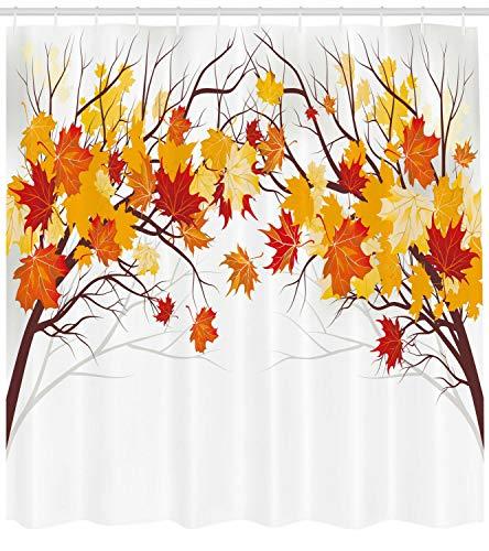 Herbst Duschvorhang Cartoon Ahorn Herbst Baum drucken geeignet für Badezimmer Digitaldruck Badvorhang wasserdicht & schimmelresistent (180 * 180CM)