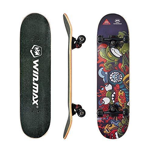 WIN.MAX Skateboard, Komplettboard mit ABEC Kugellager, 31 * 8 Zoll Holzboard aus 9 Fach Verleimte Ahornholz (JACO)