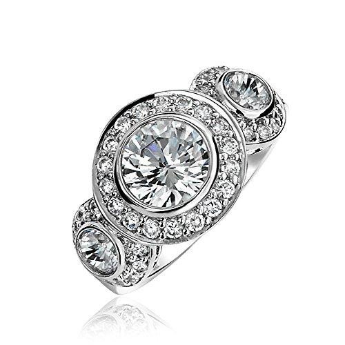 Bling Jewelry Art Deco 925 Sterlingsilber Vergangenheit Gegenwart Zukunft Zirkonia AAA CZ 3 Stein Halo Stirnreif Verlobungsring