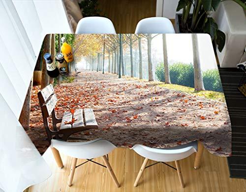 Rubyia Manteles Lavables Impermeables, Table Cloth Banco en el Camino Cubierto con Hojas Caídas Tramas , Poliester, 140 x 200 cm, Multicolores