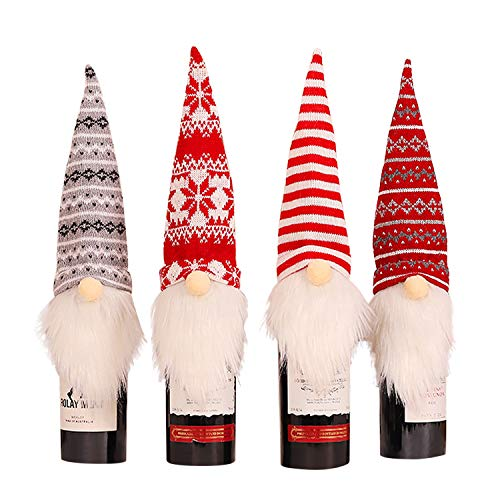 Petalum Weinflaschenabdeckung Weinflaschenpullover zu Weihnachten Weinflaschen-Tüten mit Bogenfellball Tischdeko