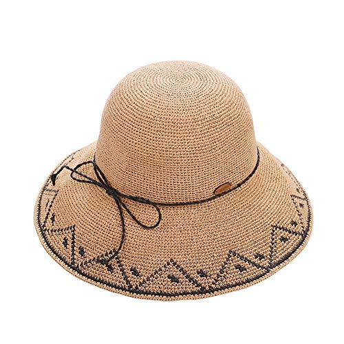 ZXL Frauen Hut mit breiter Krempe Sonnenblende manuelle Häkel Mütze atmungsaktiv Schweiß Reise Freizeit Kappe (5 Farben optional) Lady Sonnenhut (Farbe: Hellbraun)