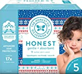 The Honest Company Club Box Disposable Diapers with True Absorb Technology, Cozy Sweater, Size 5, 50Count