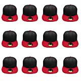 Gelante Plain Blank Flat Brim Adjustable Snapback Baseball Caps Wholesale LOT 1500-BlackRed-12PC