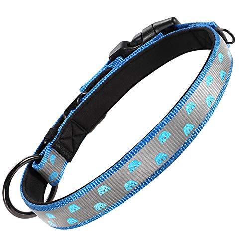 Grand Line Collar Perro Reflectante con Hebilla Seguridad Collar Ajustable Nailon Collar Acolchado de Neopreno Suave Mascotas Perros Cachorro Pequeñas Medianas Grandes (Cuello 38-51cm, Azul)