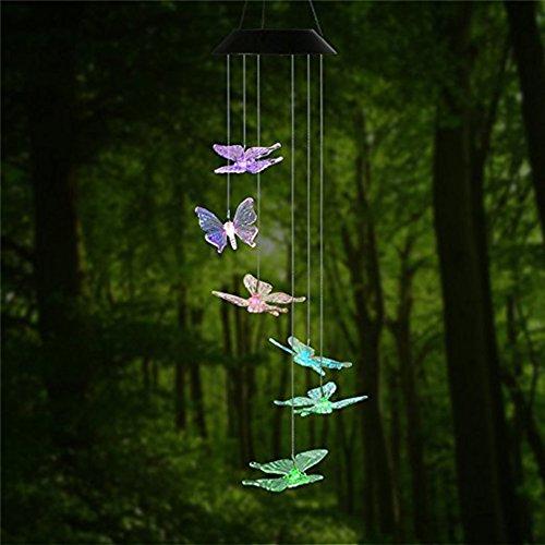 PROKTH Solarleuchte Windspiel,Solar LED Licht wechselt Farbe Mobile Windspiel im Freien hängendes wasserdicht für Hause Party Nacht Garten Dekoration