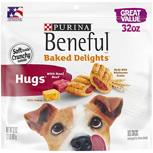 Purina Beneful Made in USA Facilities Dog Treats Baked Delights Hugs With Real Beef amp Cheese  32 oz Pouch Model Number: 17800183895