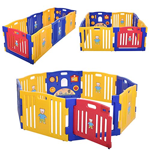 JAXPETY Baby Playpen, 8-Panel Baby Play Yard with Gaming Panel, Locking Gate,...