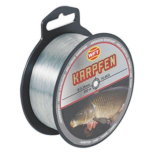 WFT Zielfisch Karpfen 300m 0,35mm 10,4kg grau - Angelschnur zum Angeln auf Karpfen, Monofil Schnur zum Karpfenangeln Karpfenschnur