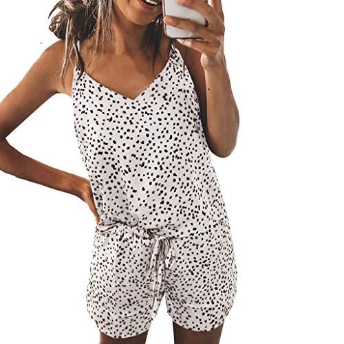 YunYoud Damen Print Pyjamas Trainingsanzug Sets Freizeitkleidung V Ausschnitt ärmellos Loungewear Anzug Home Tops + Hosen