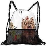 Mitta Yane Bolsas De Cuerdas,Mochilas con Cordón Bolsas,Yorkshire Terrier con Elegantes Equipos De Peluquería Tijeras De Espejo,Ajustable