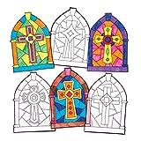Baker Ross Adornos de cruces con efecto cristal tintado para la ventana (Paquete de 12) Manualidades de Pascua para niños