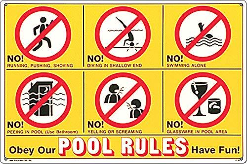 Poolmaster Schild 41357 Baderegeln in Symbolsprache und auf Englisch, für Private Pools