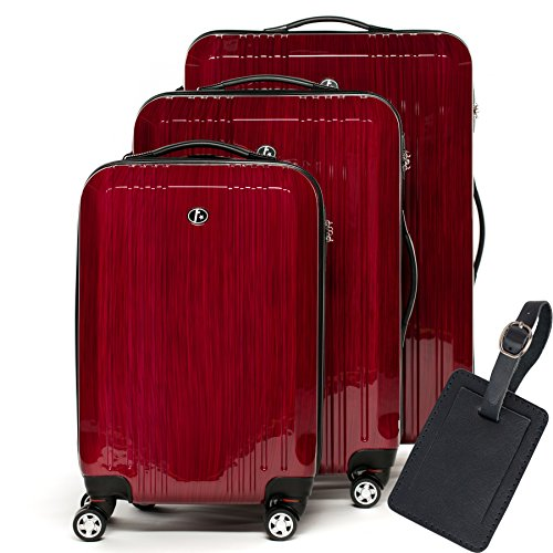 FERGÉ Kofferset Hartschale 3-teilig + 1x Anhänger Cannes Trolley-Set mit Handgepäck 55 cm 3er Set Hartschalenkoffer Roll-Koffer 4 Rollen rot