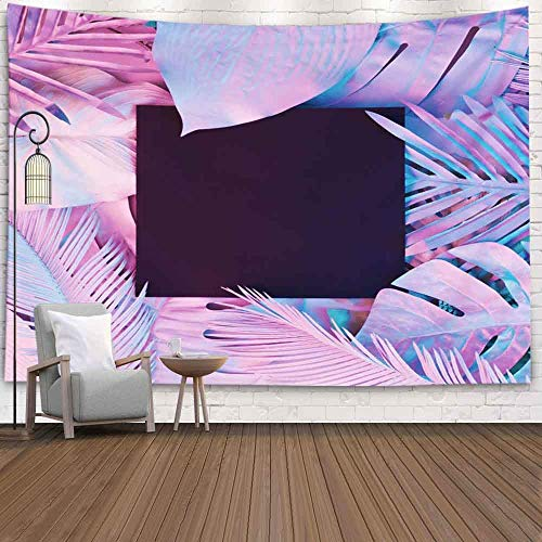 Decorative Wall Decor, Home Art Decor Tropical and Palm Leaves in Vibrant Bold Gradient Holographic Neon Colors Conceptfor Living Room Dorm Background Tapestries
