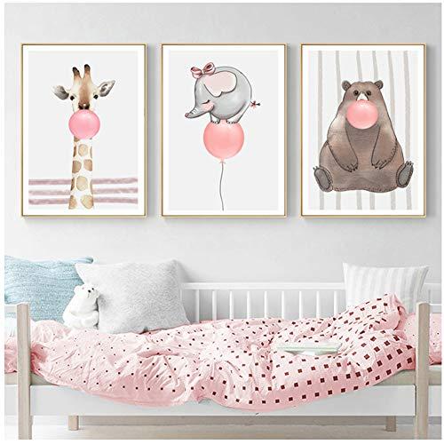 Liang Ni Inc Animaux de la Bande dessinée Cartoon Pink Balloon Nursery Prints Toile Peintures Pop Art Mural Affiches Photos pour la Chambre des Enfants Décorations-50x70cm sans Cadre