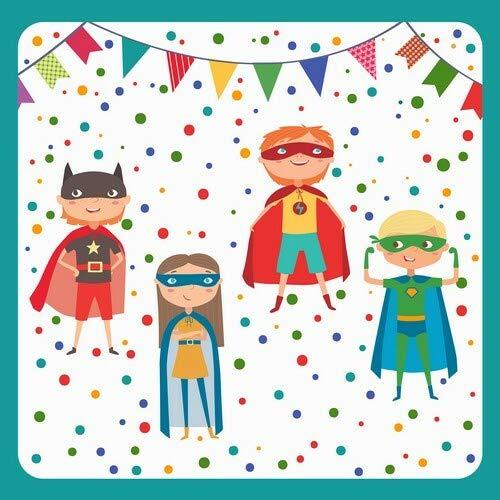 20 Servietten Superhelden-Party als Tischdeko zum Kindergeburtstag für Jungen 33x33cm