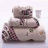 Set di Asciugamani , Cotone 3 Pezzi/Lotto Asciugamano da Bagno Viso Ricamato Set di Asciugamani da Spiaggia da Ricamo Ragazzo Ragazza Regalo Adulto Rosso