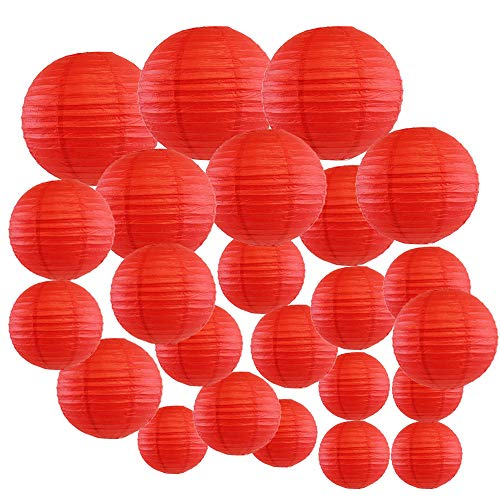 Just Artifacts Decorative Round Chinese Paper Lanterns 24pcs Assorted Sizes (Color: Red)