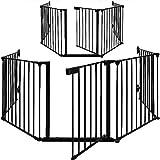 Turefans 5PCS,Barrera de Seguridad Reja de protección Quitafuegos para Chimenea Parque, Longitud de 300 cm, Negro