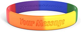 Reminderband Classic Custom Pride Silicone Wristband - Rainbow - Personalized Customizable Silicone Rubber Bracelet - Customized for Motivation, Events, Gifts, Support, Causes, Fundraisers, Awareness