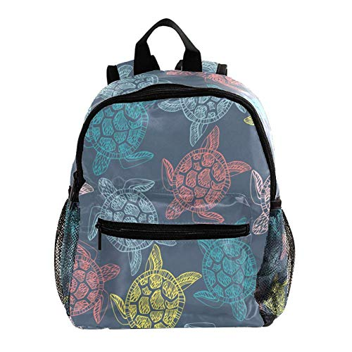 Kids Backpacks,Cute Lightweight Resistant Preschool Backpack for Boys and Girls Chest Strap Blue-Gray Turtle