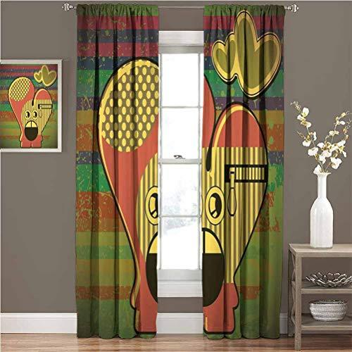 Cortinas opacas modernas para dormitorio con diseño de monstruo sobre grunge a rayas con cremallera, diseño de corazón, para la sala de estar, color amarillo, coral, verde oliva