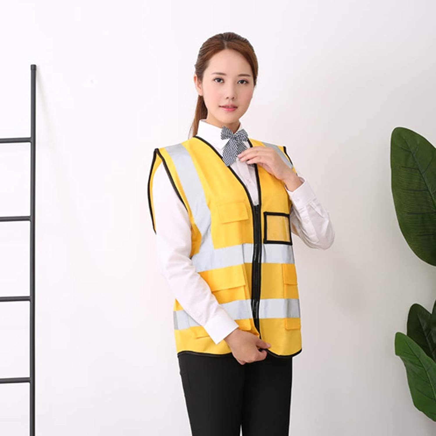 YJLGRYF Pockets High Visibility Zipper Front Breathable Safety Vest with Reflective Strips, Uniform Vest 44.9x25.98inches