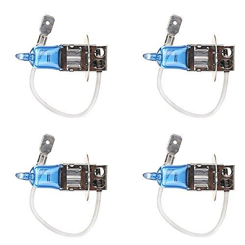 Mintice 4 X Véhicule de voiture Lumineux H3 55W 6000K Xénon Gaz Halogène Ampoules de lampe de projecteur blanc