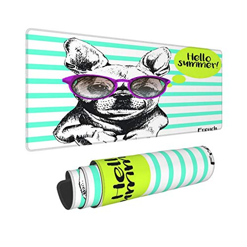 Extra Groß Mauspad mit Genähten Kanten,L-80 x 30 x 0.3cm,Porträt der französischen Bulldogge, die die Sonnenbrille h,Schreibtisch Mat Personalisiert für Die Arbeit Spiel Büro Computer Laptop