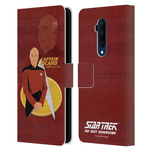 Officiële Star Trek Kapitein Picard Iconische karakters TNG Lederen Book Portemonnee Cover Compatibel voor OnePlus 7T Pro