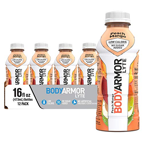 BODYARMOR LYTE Sports Drink Low-Calorie Sports Beverage, Peach Mango, Natural Flavors With Vitamins, Potassium-Packed Electrolytes, No Preservatives, Perfect For Athletes, 16 Fl Oz (Pack of 12)