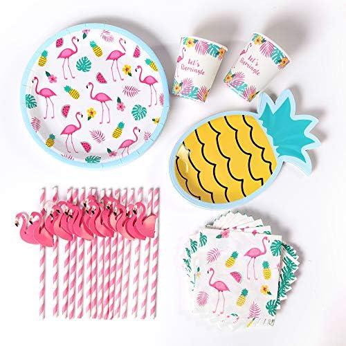 Pink Flamingo Party Supplies 16 Flamingo Plates Pineapple Plates Napkins and Flamingo Straws product image