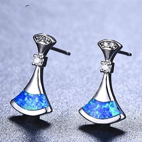 NOBRAND Aretes De Plata Mujer Mujer Stud Pendientes Moda 925 Plata Blanco Azul Fuego Ópalo Pendientes Pendientes Vintage