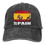 LLeaf Drapeau de l'Espagne Football Rugby Hommes Femmes Casquettes de Baseball Réglables Casquette Plaine Denim Teint en Fil