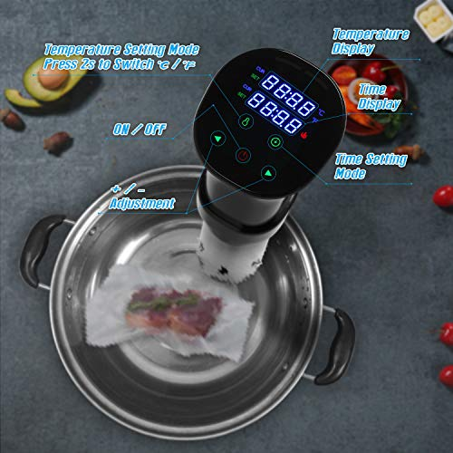VPCOK Sous Vide Cooker with Sous Vide Cookbook Immersion Circulator Sous Vide Machine Accurate Temperature and Timer Control