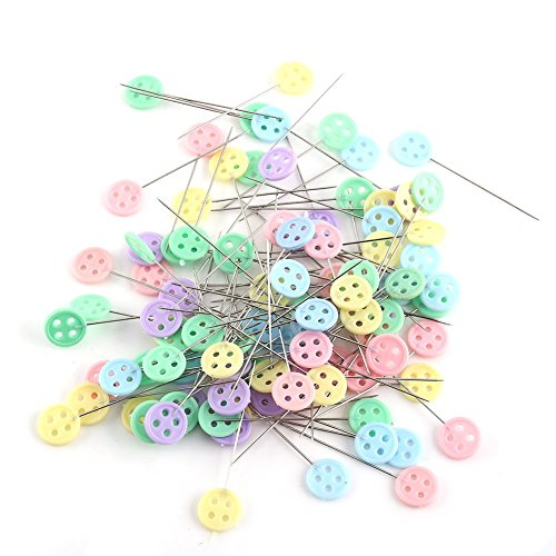 100 alfileres para acolchar cabeza plana, 3,9 – 5 cm de largo con cabeza de flor para coser parches (cabezal de botón)