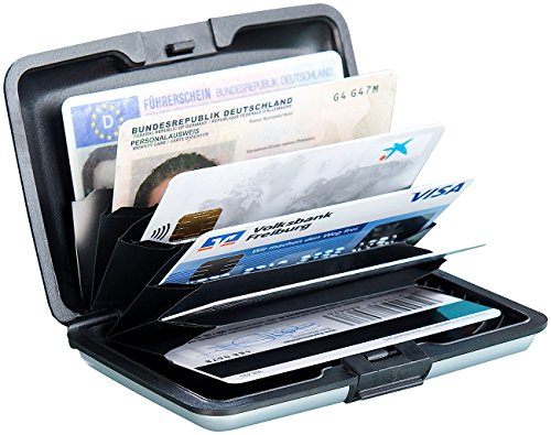 Xcase Kartensafe: Edles RFID-Kartenetui aus Aluminium, Schutz für bis zu 6 Chip-Karten (Kreditkartenetui Aluminium)