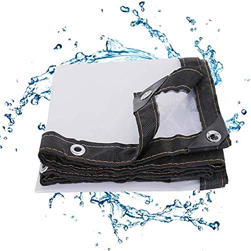 Clear Tarpaulin Waterproof Heavy Duty Thermal Insulation 3x7M, Transparent Tarpaulin with Grommets, Reinforced Edges and Reinforced Eyelets Great for Tarpaulin Canopy Tent, Boat, Rv or Pool Cover