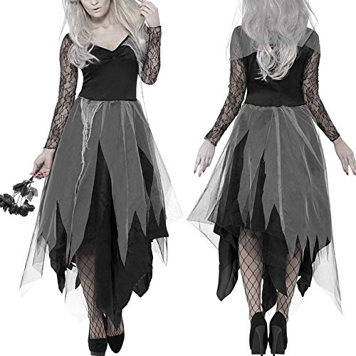 JXJ Vestido del Cadáver de la Novia del Cementerio para el Vestido de Disfraces de Halloween de Las Mujeres y el Vestido de la Novia del Velo de Rosa Vestidos Cadáver Cosplay,M