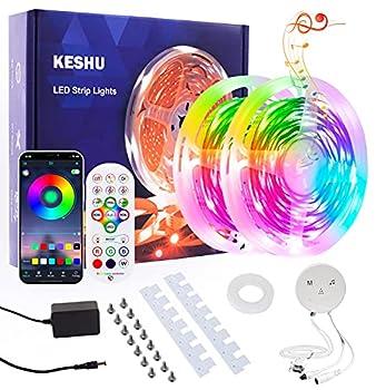 LED Strip Lights 50ft Led Lights for Bedroom RGB Led Strip Lights KESHU Smart LED Lights Strip Bluetooth App Control Music Color Changing Lights for Living Room Kitchen Home Indoor
