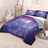 Luoiaax Outer Space 3-Pack (1 Duvet Cover and 2 Pillowcases) Bedding Nebula Gas Cloud Dust Spiral Expanse Planet Galaxy System Milky Way Inspired Polyester (Queen) Navy Purple