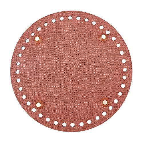 CHGCRAFT 2 piezas de cuero de la PU plana redonda bolsa inferior para hacer punto bolsas de las mujeres hechas a mano accesorios DIY Sienna 141x9.5mm agujero: 4.5mm