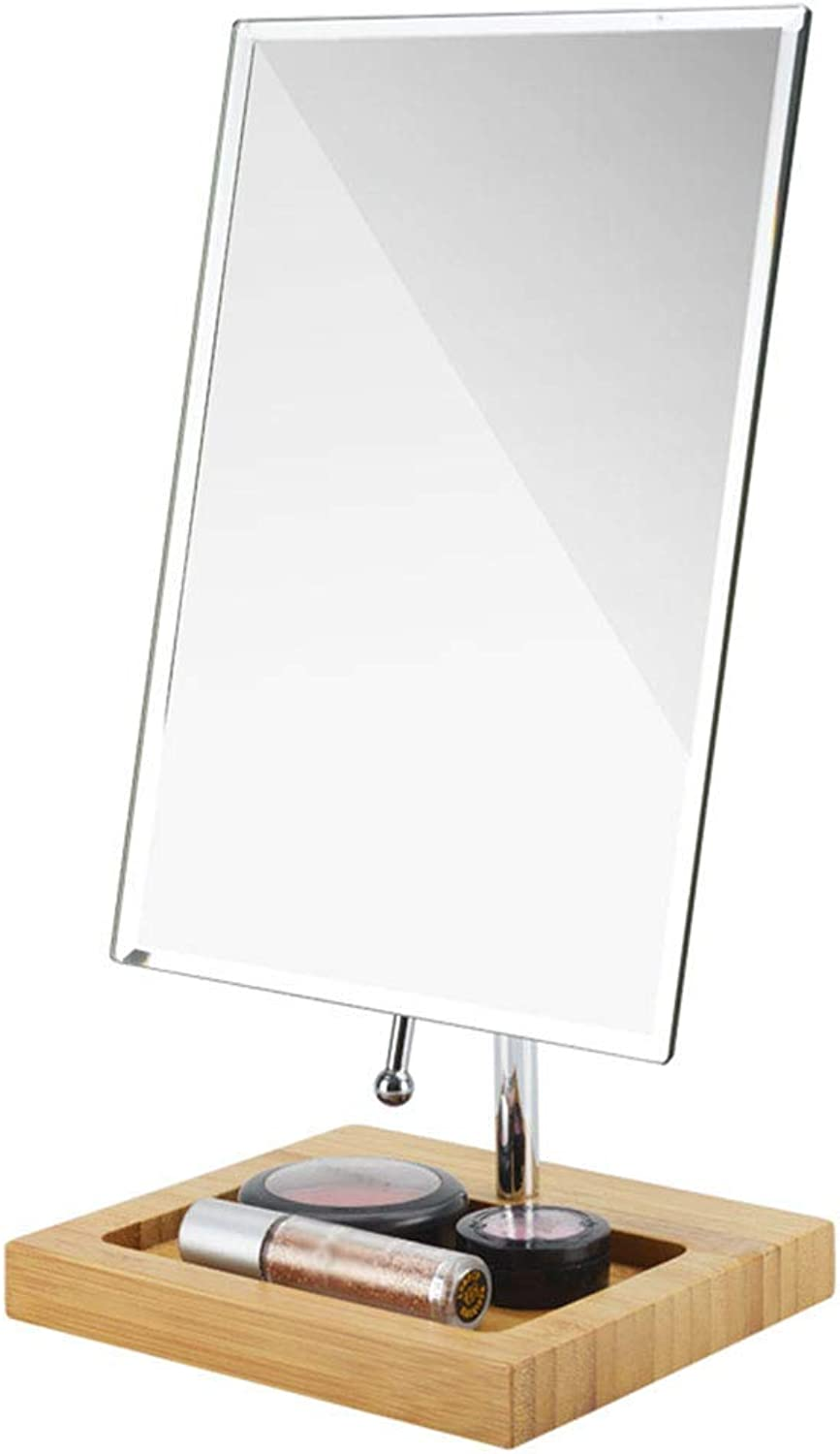 Makeup Mirror Desktop Desktop Metallic Wood redating Storage Square Single Side HD