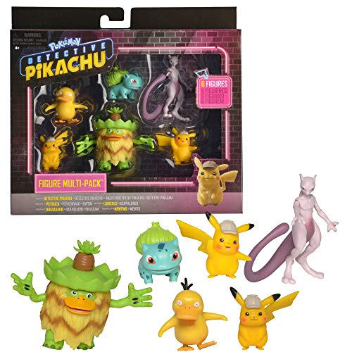 "Pokémon Detective Pikachu Battle Figure 6pc Multi-pack - Comes with Two 2"" Pikachu, 2"" Psyduck, 2"" Bulbasaur, 3"" Mewtwo & 3"" Ludicolo"
